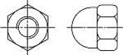 Гайки DIN 1587 колпачковые шестигранные