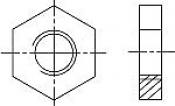 Гайки DIN 439-1 (EN ISO 4036) шестигранные низкие (без фаски)